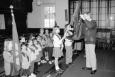 Brownies  prepare   for pennant flag instruction-Stuart Stacey Collection