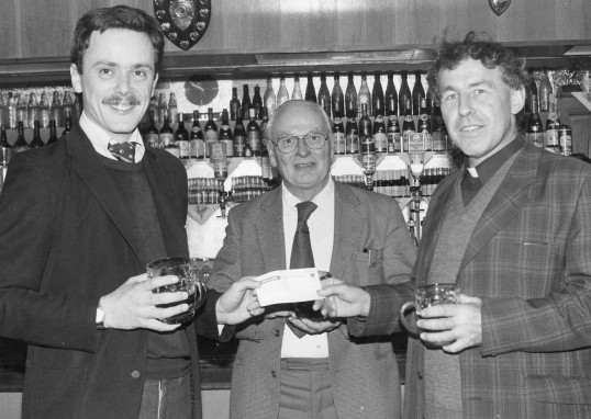 Stuart Stacey collection photo of a cheque presentation