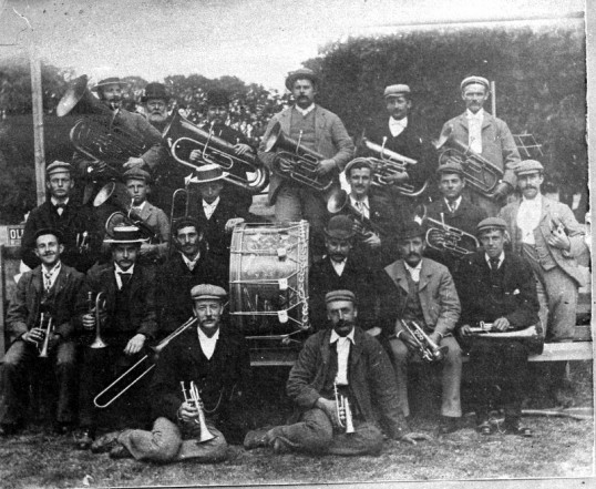 Brass Band pose for photograph-Stuart Stacey Collection