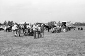 Families in showground watch horse riding  event- Stuart Stacey Collection