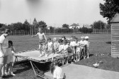 Children queue for trampoline-Stuart Stacey Collection