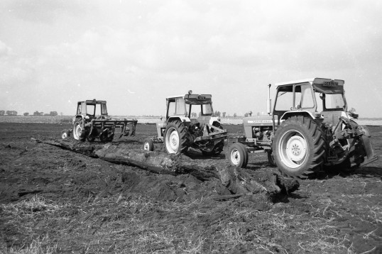 3  Tractors parked alongside a piece of bog oak-Stuart Stacey Collection
