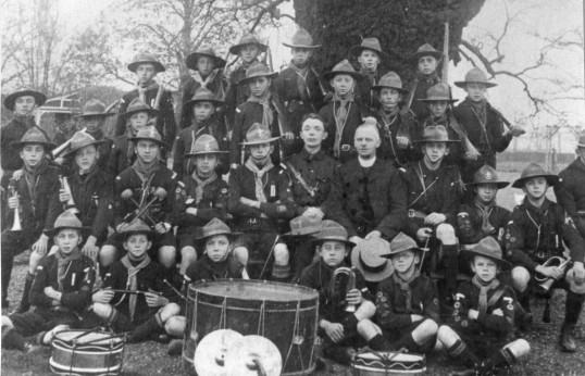 Scouts band and members photo in the Stuart Stacey Collection