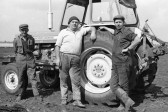 Stuart Stacey collection: 3 Farm workers and tractor.