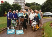 Gathering outside Parish Church some with cycles in aid of Arthritis Research