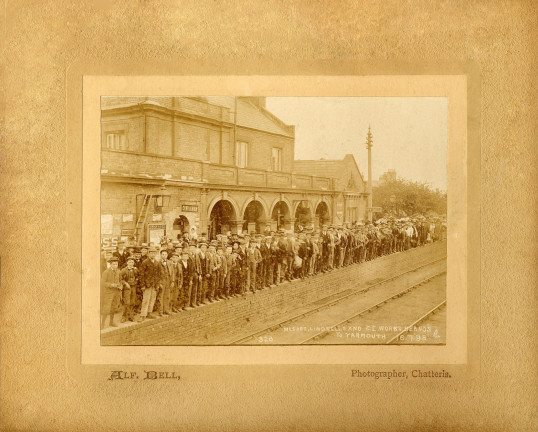 Chatteris Railway Station in 1898. Messrs. Lindsell's and C.E. Works Beano's to Yarmouth 16.7.98