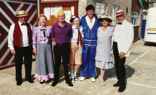 Elvis and other entertainers outside Chatteris Workingmen's Club