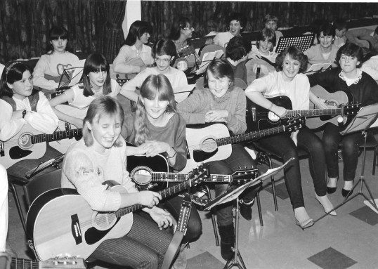 Guitars at the ready in Cromwell School.
