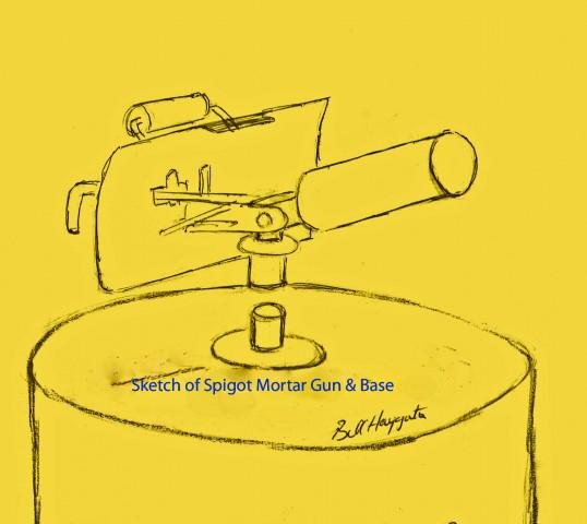 Sketch of Spigot Mortar Gun and Base