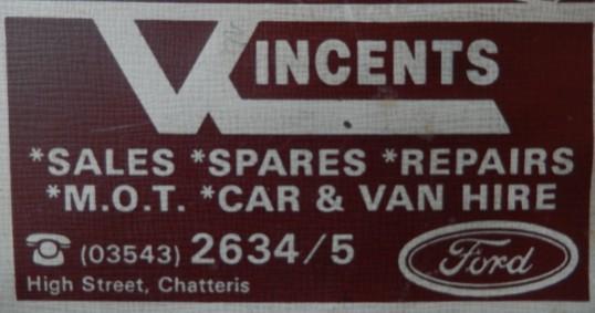 Advert for Vincents Garage Chatteris