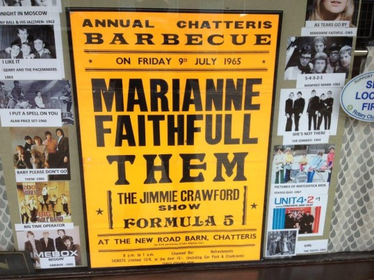 Poster for events at the Barn in New Rd Chatteris. Top of the bill Marianne Faithfull