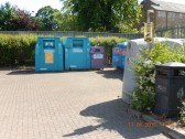 Recycling area in Furrowfields Road Car park