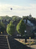 Hot air balloon over Chatteris as viewed from Grove House