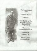 Programme for Band of Royal Anglian Regiment Concert 11 th Nov 2017