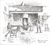 A scetch of the inside of the Red Lion Public House Mill End Rd around 1900. Courtesy of Cambridgeshire Collection
