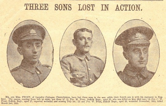 Three Brothers Killed In The Ww1 Sons Of Mr Mrs Frost