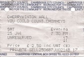 "The ticket for ""You could count the chimneys to the church"" a play about Cherry Hinton. 1987"