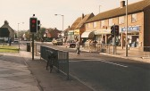 Cherry Hinton High Street showing Rogers Electrical Shop, Greengrocers & Fish & Chip shop (Photograph Geoff Kitchin)