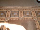 Original floor tiles in the entrance hall inside the front door of Cherry Hinton Hall. (M Bullivant taken 2004)
