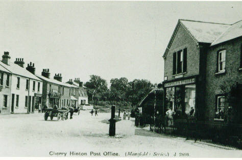 Post Office, Cherry Hinton High Street and village pump (at corner of Mill End Road)  courtesy of Cambridgeshire Collection