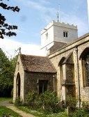 St. Andrews Church Cherry Hinton, first known in 1201.  The tower has recently been repaired (2007). (photograph Norman Daniels). My Memories of Cherry Hinton Church Scaffolding