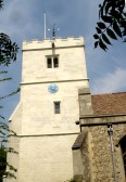 The newly repaired tower, St. Andrews Church Cherry Hinton. (Photograph Norman Daniels)