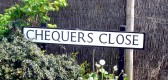 Road sign for Chequers Close, Cherry Hinton built on the site of the Chequers Public House (Photograph Norman Daniels)