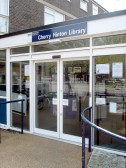 The doors of Cherry Hinton Library, Cherry Hinton High Street (Photograph Norman Daniels)