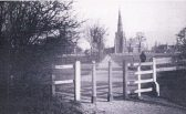 The Ancient footpath through St Andrew's Churchyard Chesterton, taken before Pye's factory was built on the field on the right. Photo No 1
