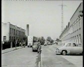 View of St Andrew's Road Chesterton showing the Pye Office Block on the left and a Pye delivery van .