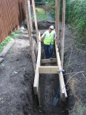 Underground sewage pipe discovered by workmen in Camside (Chesterton)