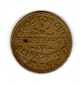 1 penny token (other side) from the Alexandra Temperance Coffee House