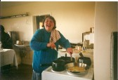 2000.  1st January  Eileen Bourne helping to cook and serve the millenium breakfast at Coveney Village Hall