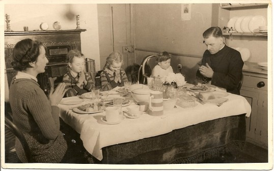 1946.  The Beale family at meal time.Picture; courtesy of Jean Bye