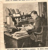 1946.  Father Beale in his study.Father Beale was rector of Coveney from 1943 till 1954