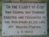 1892. Plaque in front porch of Coveney Methodist Chapel