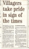 2007.  Newspaper cutting about Coveney Village sign Courtesy of Cambridge Evening News
