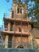 2011.  28th Oct  St Peter ad Vincular Church, Coveney, undergoing restoration work to the tower