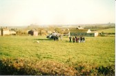 A helicopter lands in the Village Field to take a couple on a celibratory trip for their ?th Wedding Aniversary