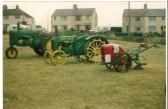 1993.  Vintage vehicle show in the village field, Coveney.Left to right:- 1940 John Deer, 1939 John Deer, British Anzani Iron Horse-1946/7