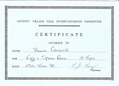 1990. 23rd June Certificate for the egg and spoon race for Coveney sports day