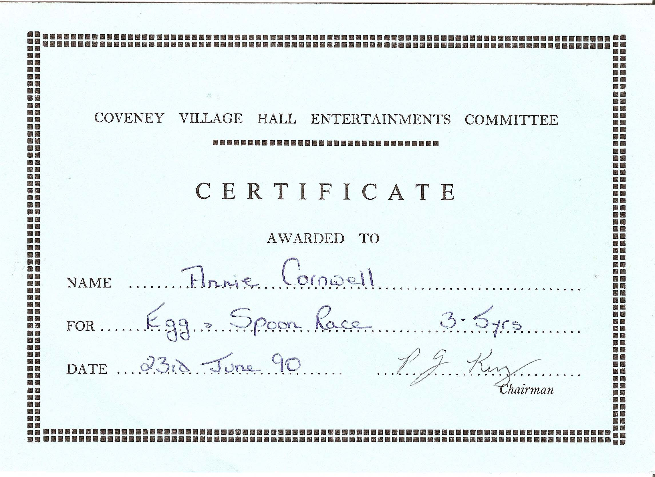 1990 23rd June Certificate For The Egg And Spoon Race For Coveney