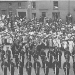 The Coronation celebration of 1911 in Ely on the Market Place.