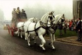 Stage coach on a foggy day.