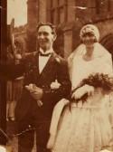 Mr Jessy Lofts leaving church with his new bride, Miss Heather Nicholls.