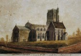 Etching of Fordham St Peters Church with one gravestone in front and no metaled road, done for Mr W Dunngardner the elder Fordham Abbey (Circa 1800)
