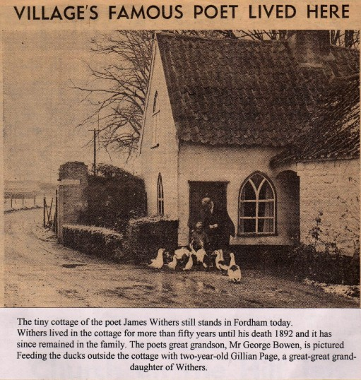 Mr George Bowen and niece at the door of his home Poets Cottage named after his great grand father Poet Withers.