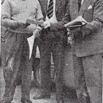 Mr J Jelliman, Mr J Newport, and Mr G Clayton Smith.preparing for a car rally.