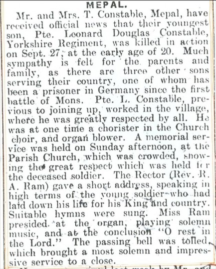 Obituary for Leonard Douglas Constable, Great War soldier, Mepal