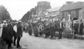 Street parade in Orwell during peace celebrations at end of Great War